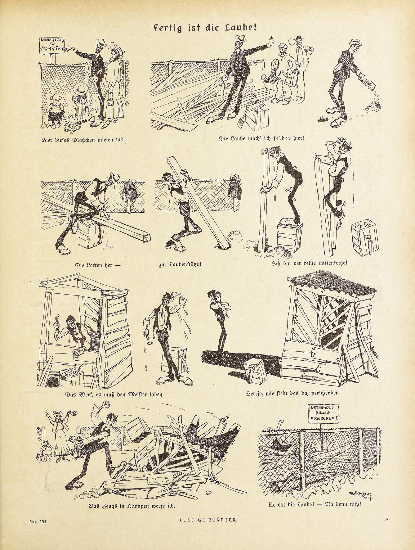 Lyonel Feininger, Fertig ist die Laube, 1905, Zeitungsdruck, 31 x 24 cm, in: Lustige Blätter, XX. Jg., 1905, Nr. 26, S. 5, Sammlung Roland März © VG Bildkunst Bonn