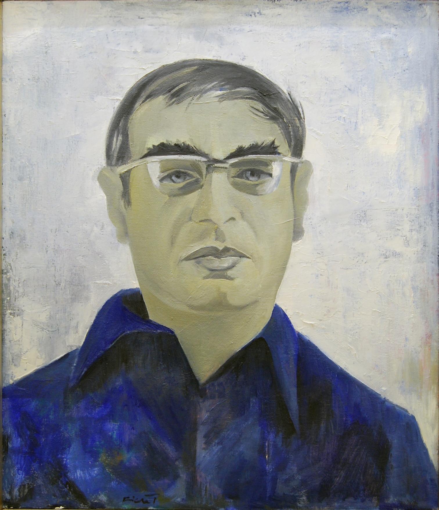 André Ficus, Porträt des Schriftstellers Martin Walser, 1968, Öl auf Leinwand, 70 x 61 cm. © Nachlass André Ficus, Frieder und Petra Gros. - Friedrichshafen