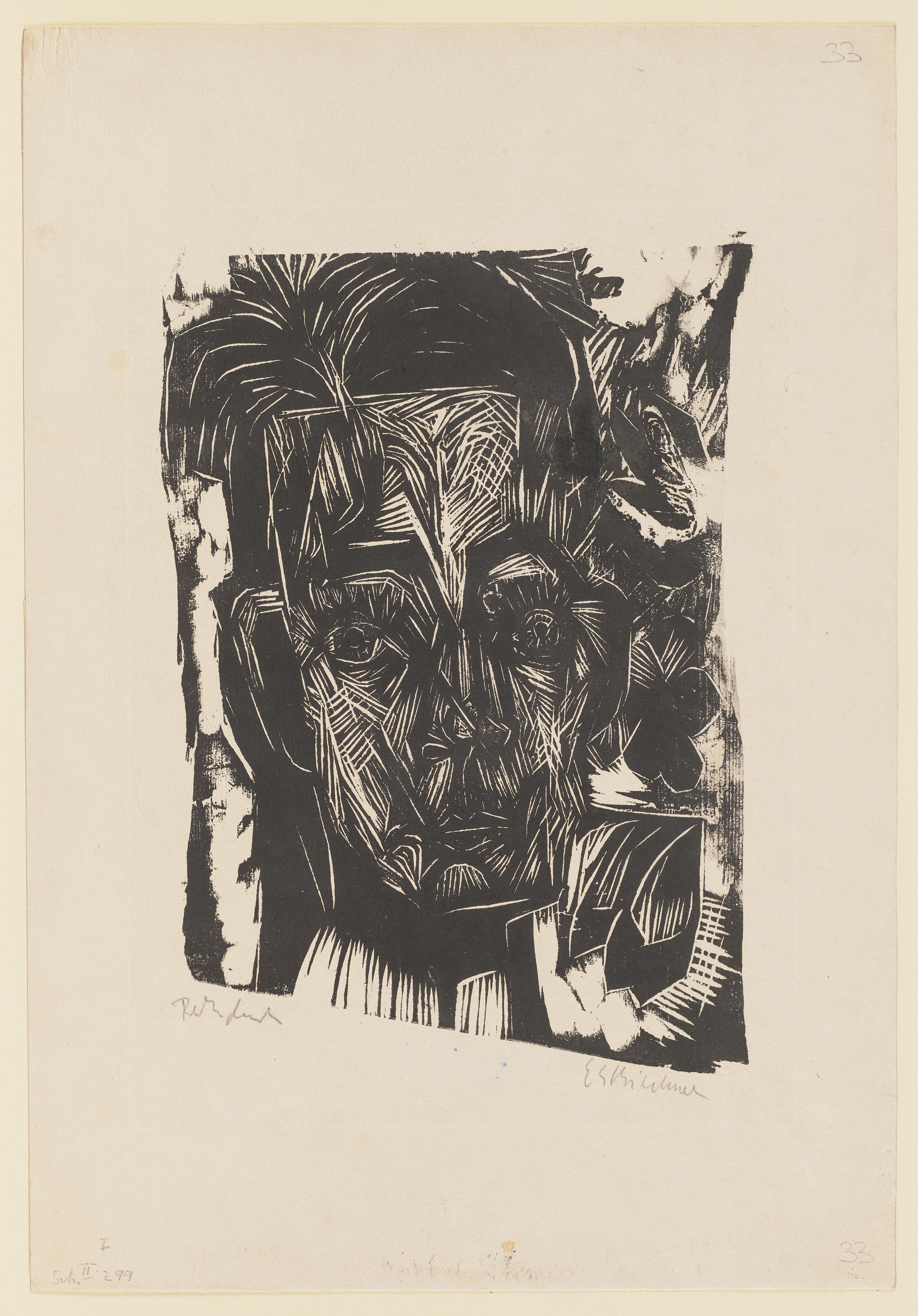 Ernst Ludwig Kirchner, Kopf Robert Binswanger (Der Student), 1917.18, Holzschnitt, 58,9 x 40,5 cm © Städel Museum, Frankfurt am Main