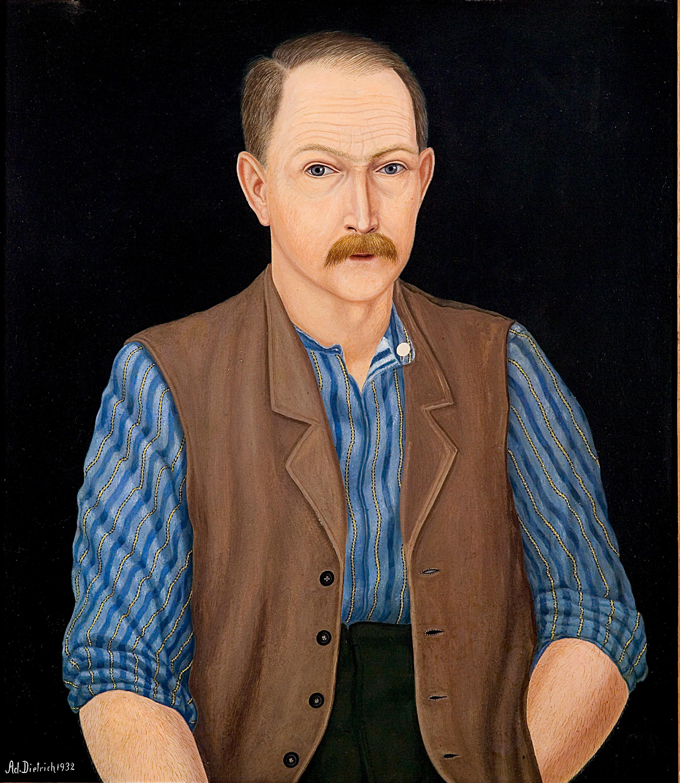 Adolf Dietrich, Selbstporträt, 1932, Öl auf Karton, 64 x 56 cm © VG Bild-Kunst Bonn, 2021; Thurgauische Kunstgesellschaft