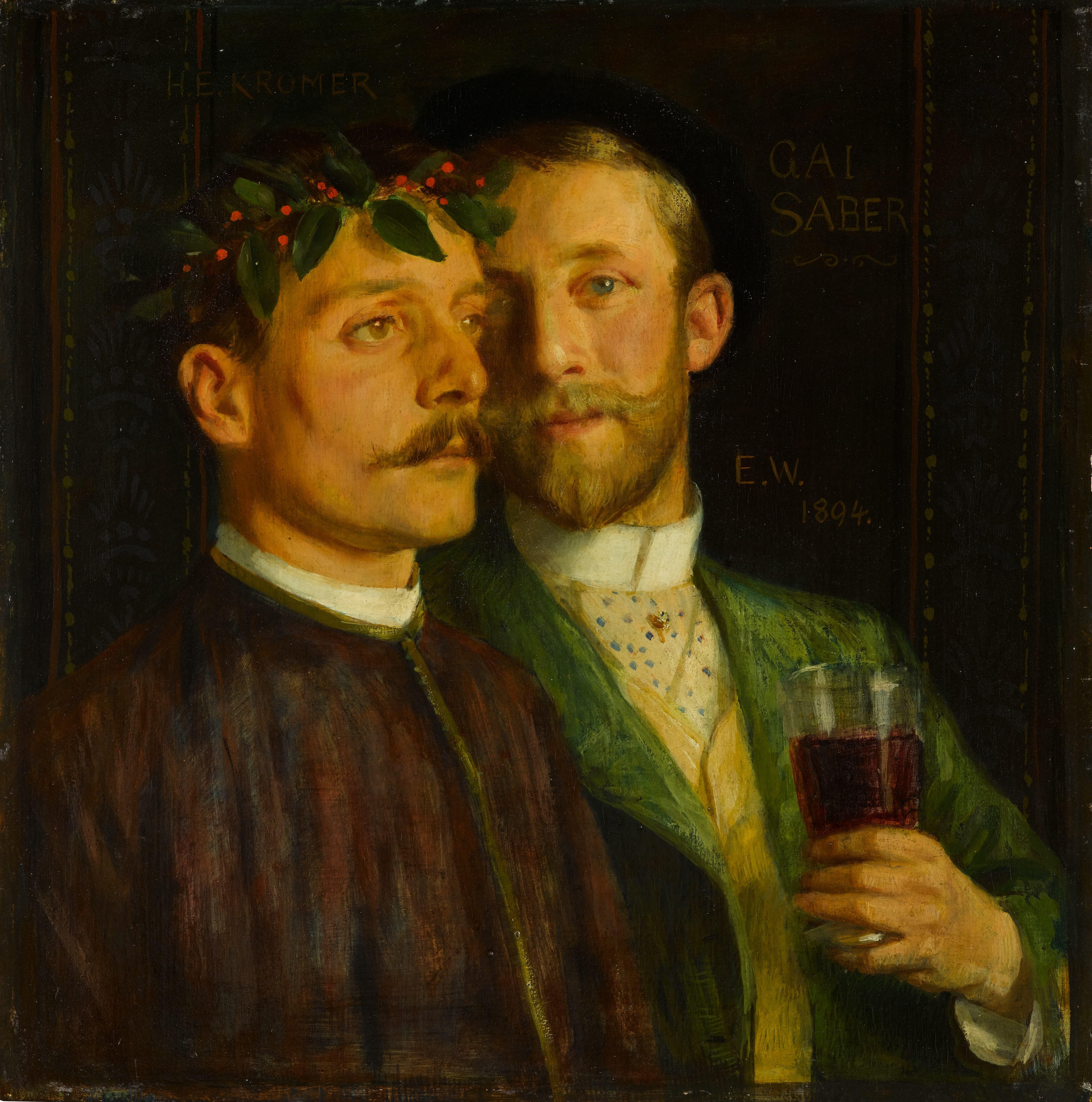 Ernst Würtenberger, Doppelbildnis (Selbstbildnis mit H. E. Kromer), 1894, Biertempera auf Lindenholz, 44 x 44 cm © Staatsgalerie Stuttgart