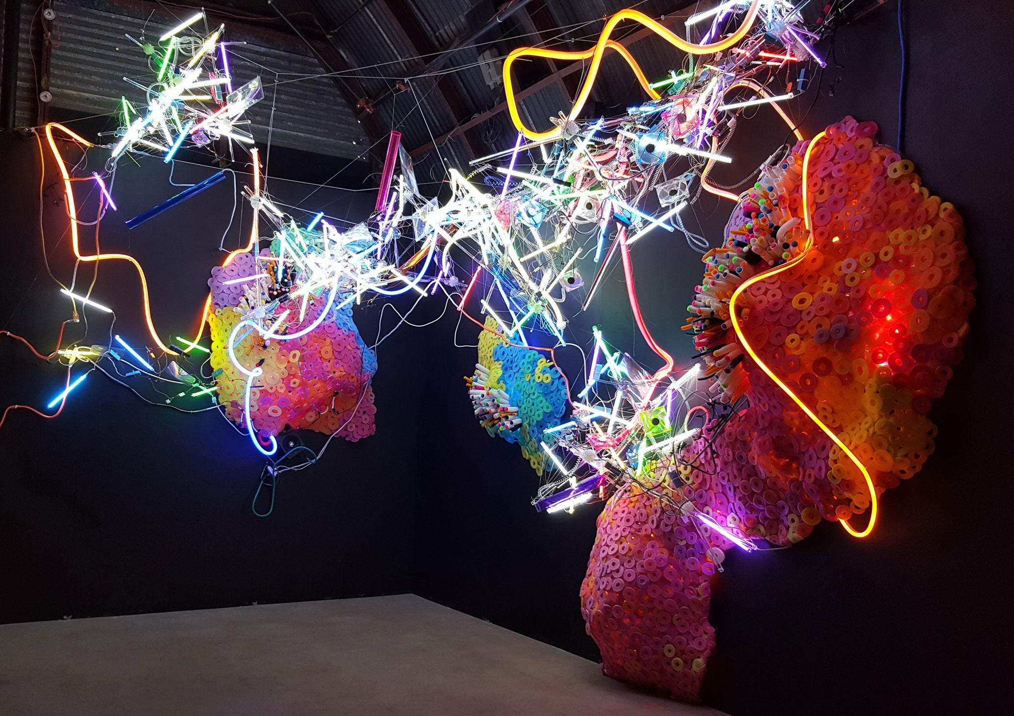 Adela Andea, Primordial Garden Flex Neon, CCF Licht, Plexiglas, Schaumstoff, Ausstellungsansicht, POP Austin, Austin, TX, USA, 2015 © Adela Andea