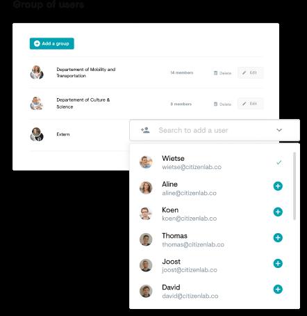 Screenshot of user management on the citizen platform
