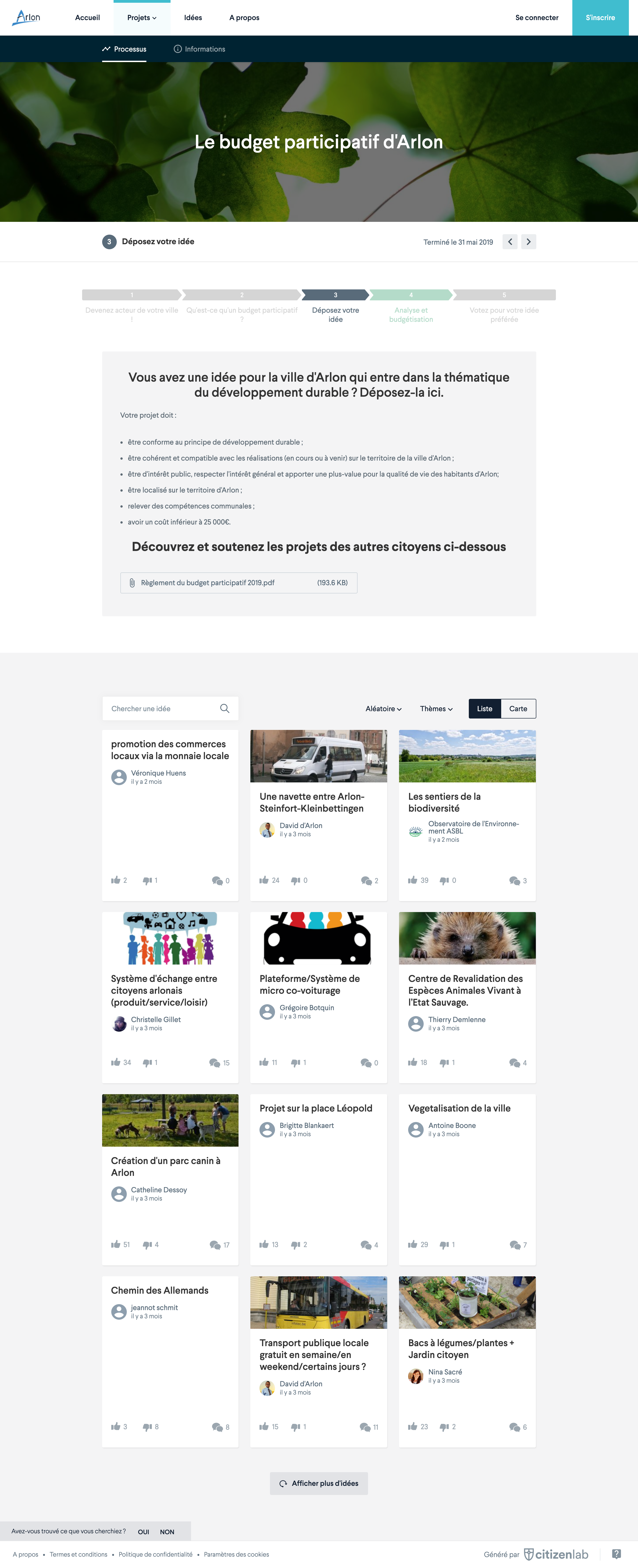 Screenshot of citizen platform showing a timeline