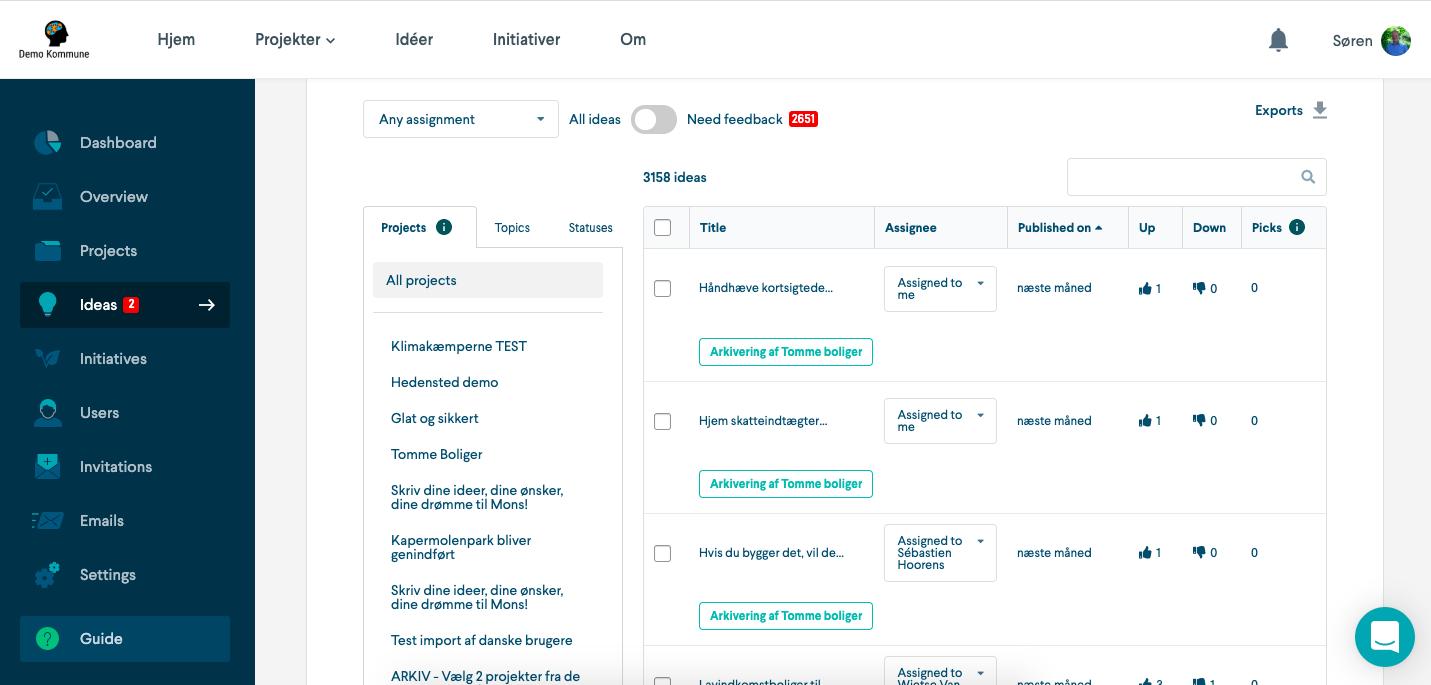 Screenshot of citizen ideas moderation on the platform