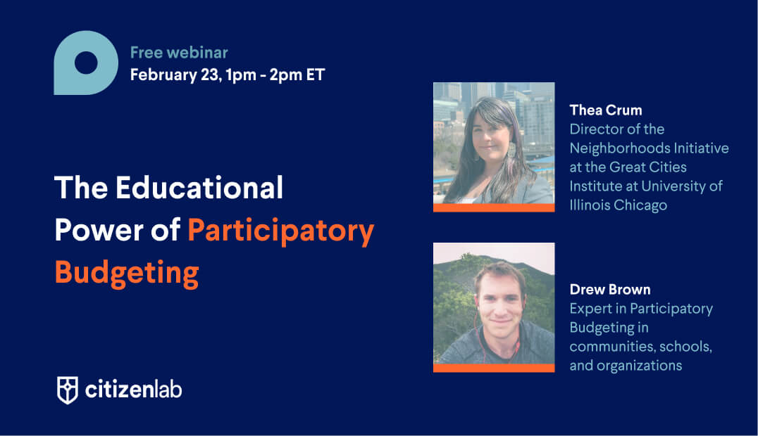Banner webinar participatory budgeting in the US