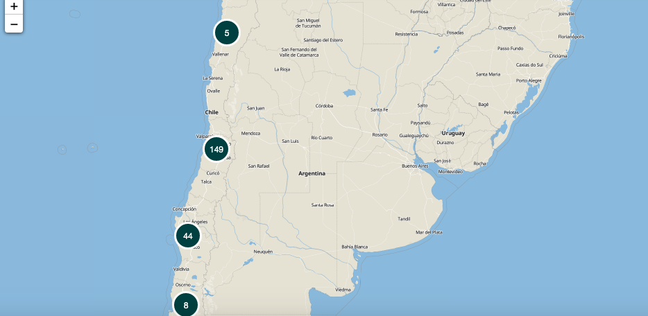 Map of Chile pinpointing locations ideas came from