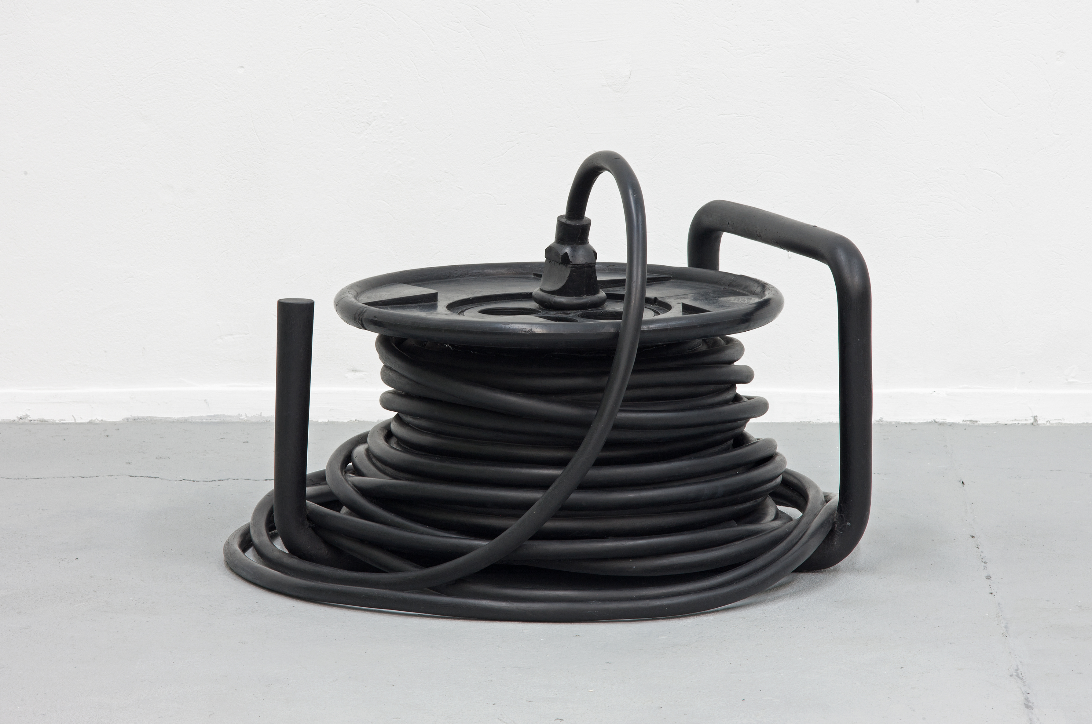 Artwork by Erik Andersen - Kabeltrommel 2010 - Black Sculpture - Epoxy Resin - Dimension 60 x 120 x 100 cm