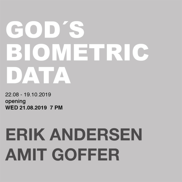 """Invitation card for the exhibition """"God's Biometric Data"""" by Erik Andersen and Amit Goffer at Diskurs, Berlin"""