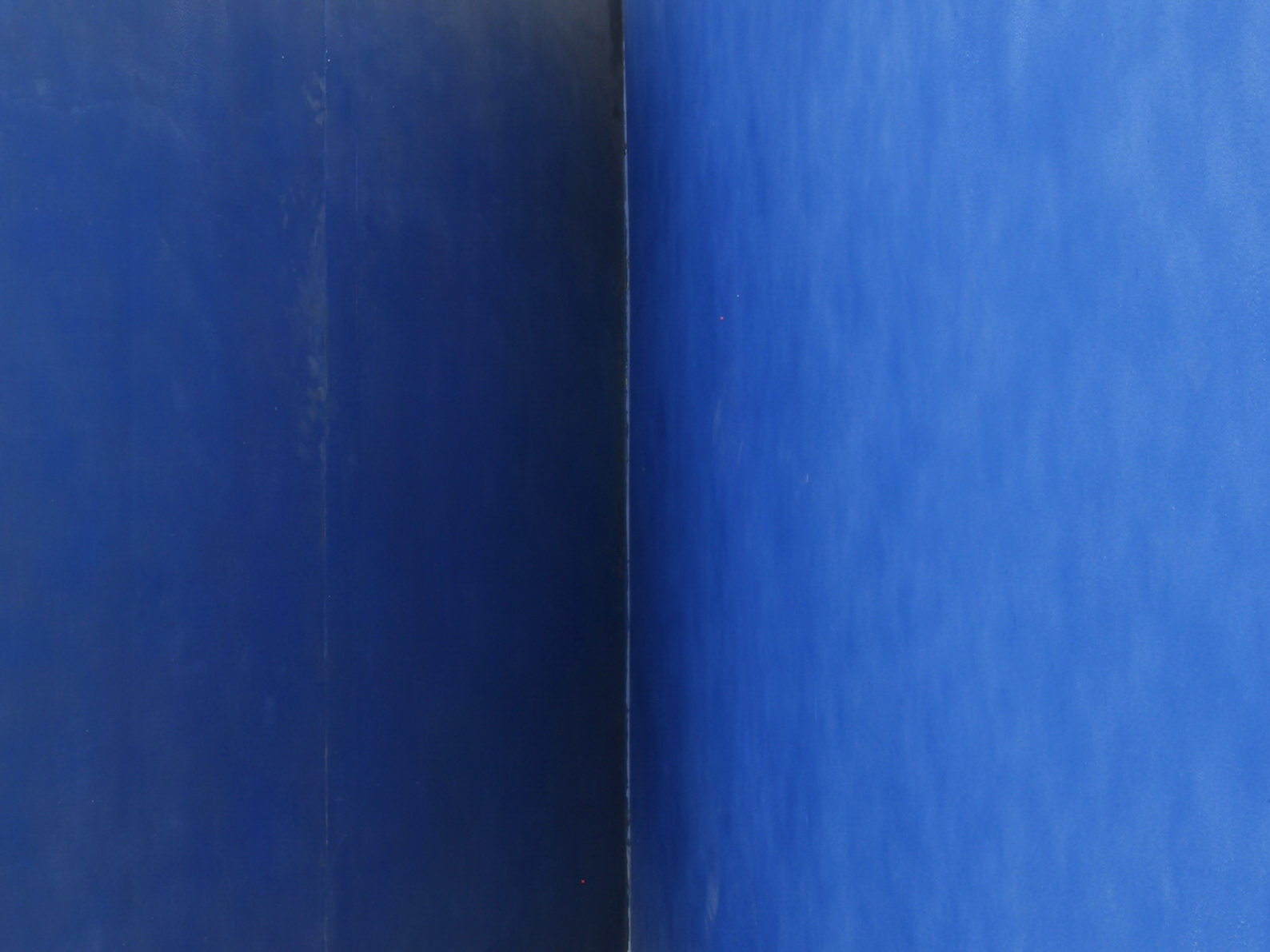 "Detail view of a wall and part of a sculptural installation covered with blue spray paint, as part of the exhibition ""god's biometric data""."