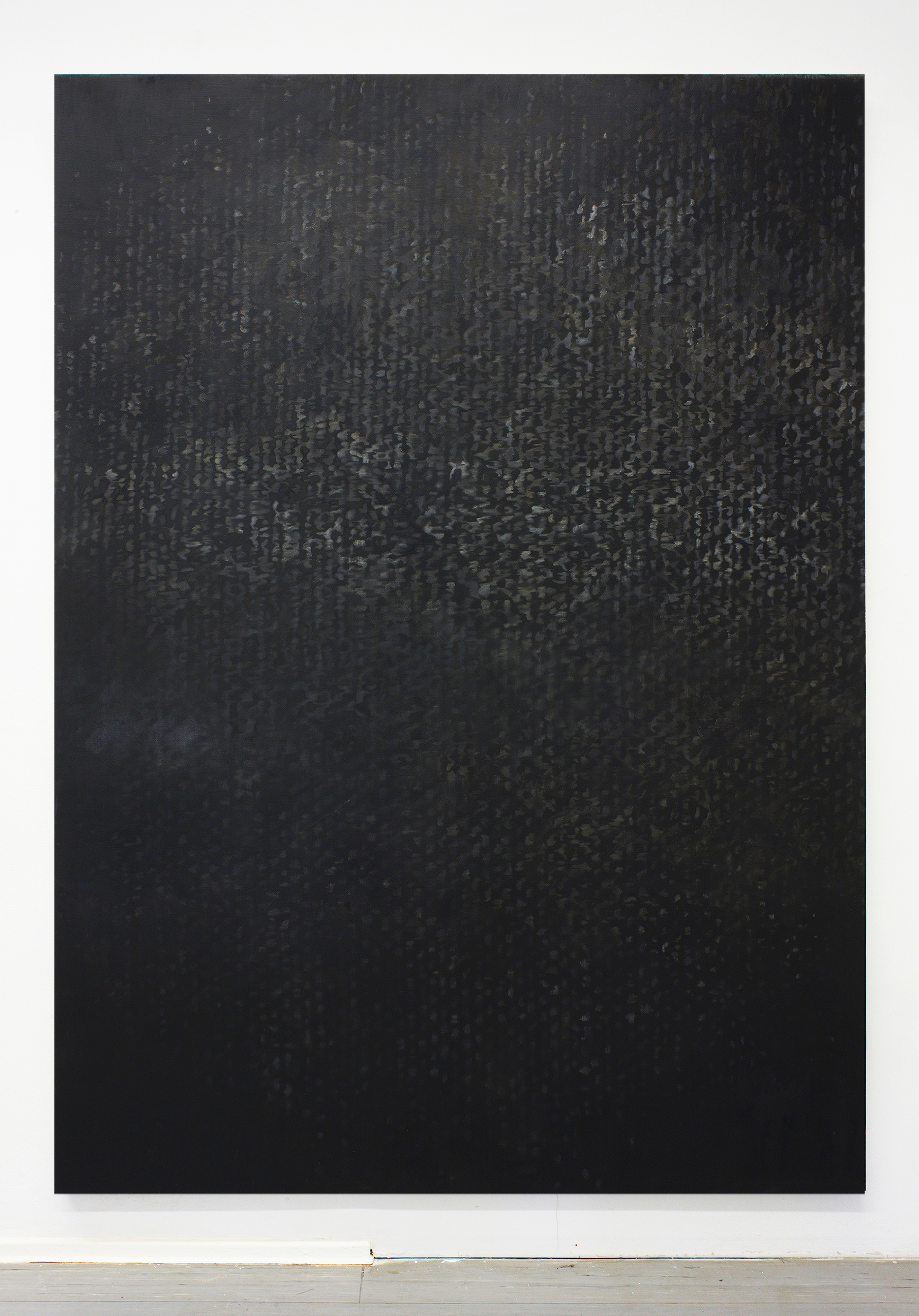 Canvas 01 is a monochromatic black painting by Erik Andersen. the Canvas series consists of abstract paintings that refer to the material and the structure of the canvas