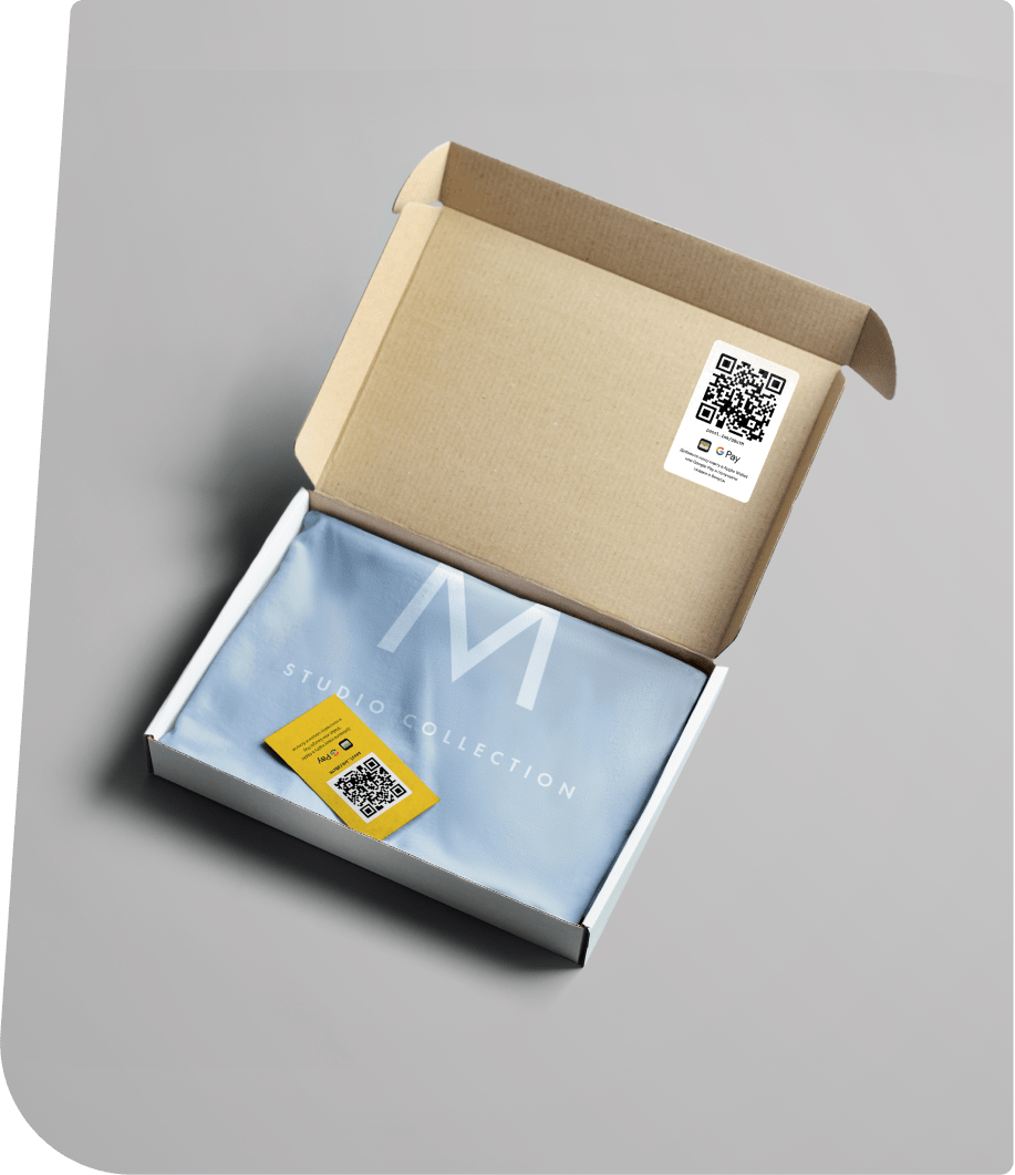 Флаер и наклейка с qr-кодом онлайн-анкеты в доставке одежды