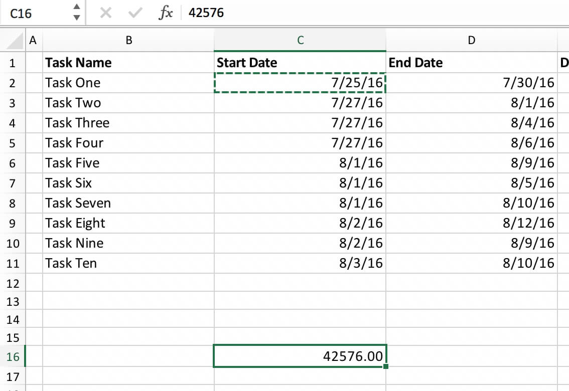 timeline chart in excel