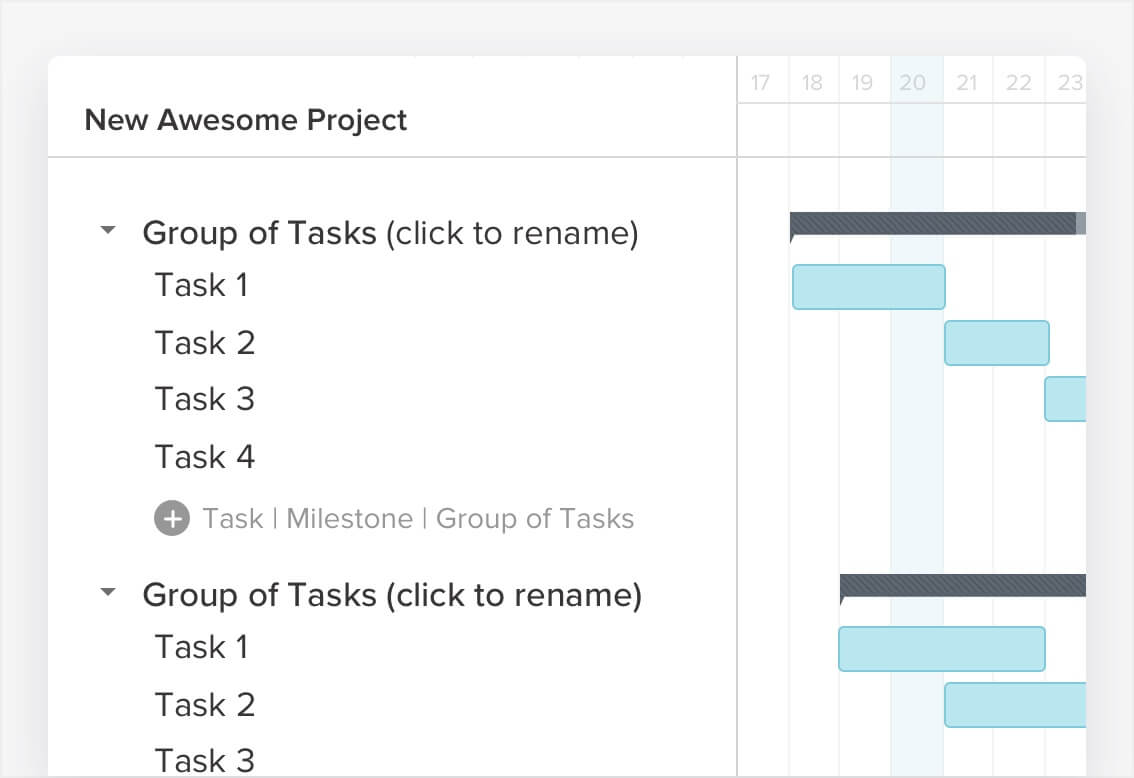 adding tasks to your gantt chart is the first step in creating your project timeline to create tasks click on the add task button task and type the