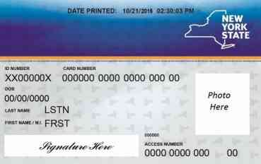 Example of a Medicaid ID card