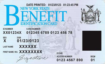 Example of a NY Benefit ID card