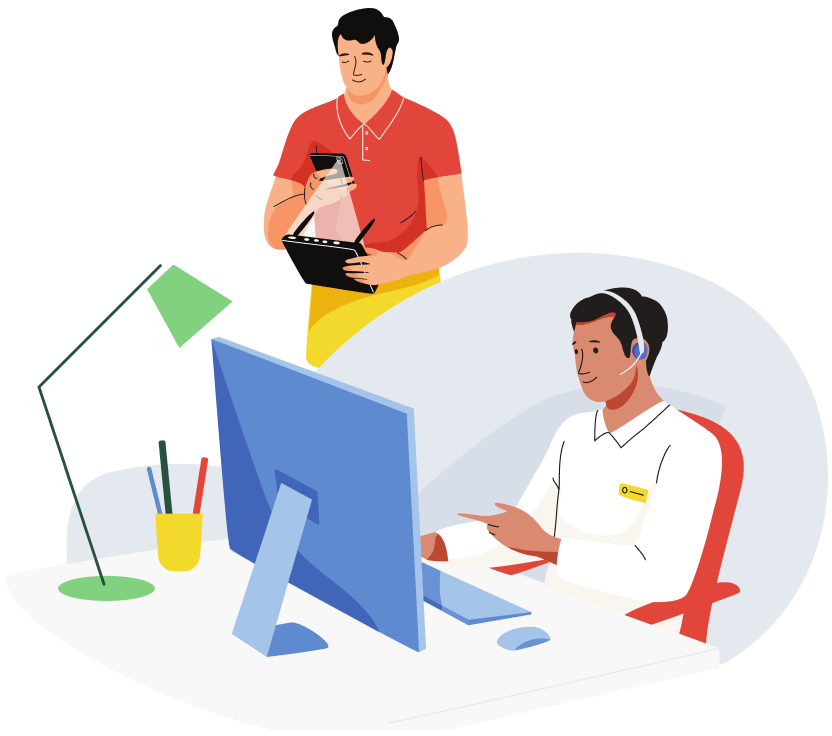 Illustration depicting blind user making a video call with the Be My Eyes app. On the left side, the customer support agent receives the call on his desktop computer.