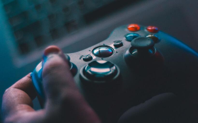 Hand using a joystick