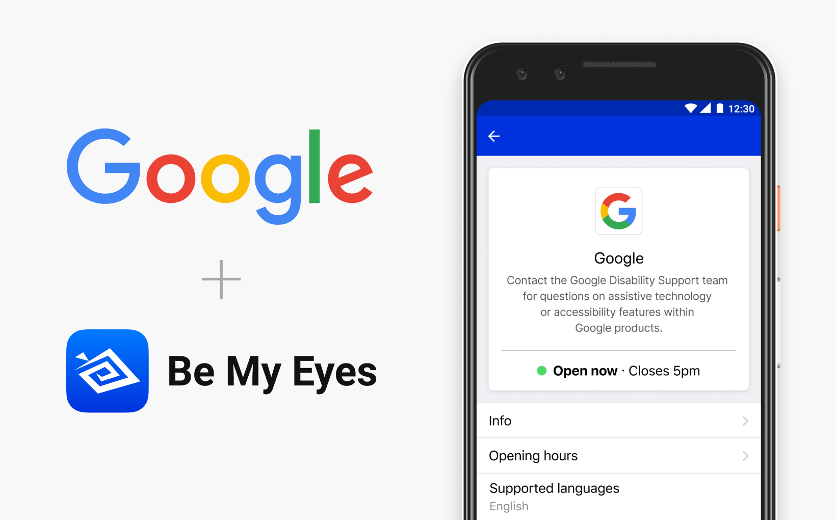 Google Disability Support is now available on Specialized Help. Image depicting a phone with Google's profile in the Be My Eyes app.