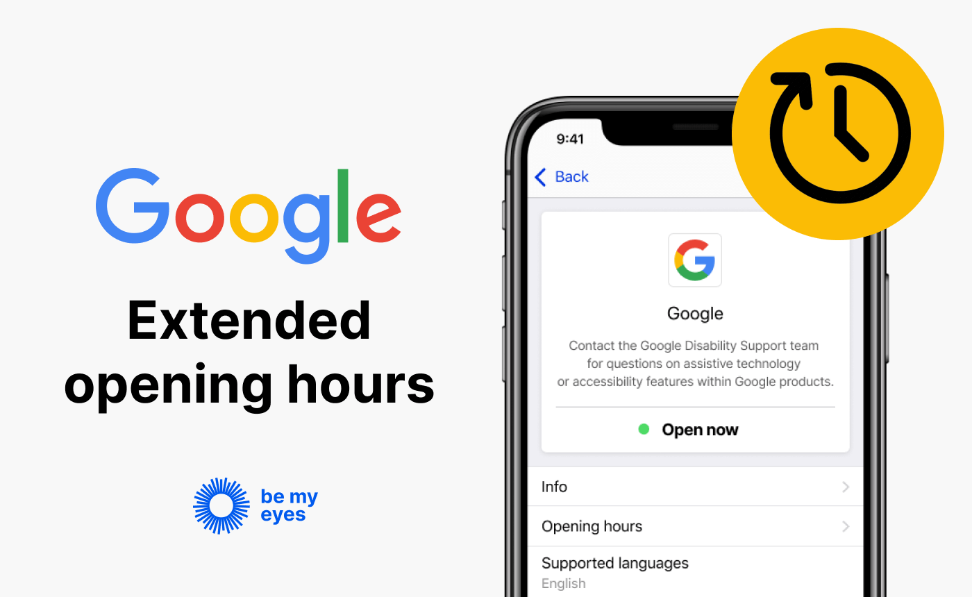"""Google's profile on Be My Eyes Specialized Help along with the text: """"Google extended opening hours""""."""