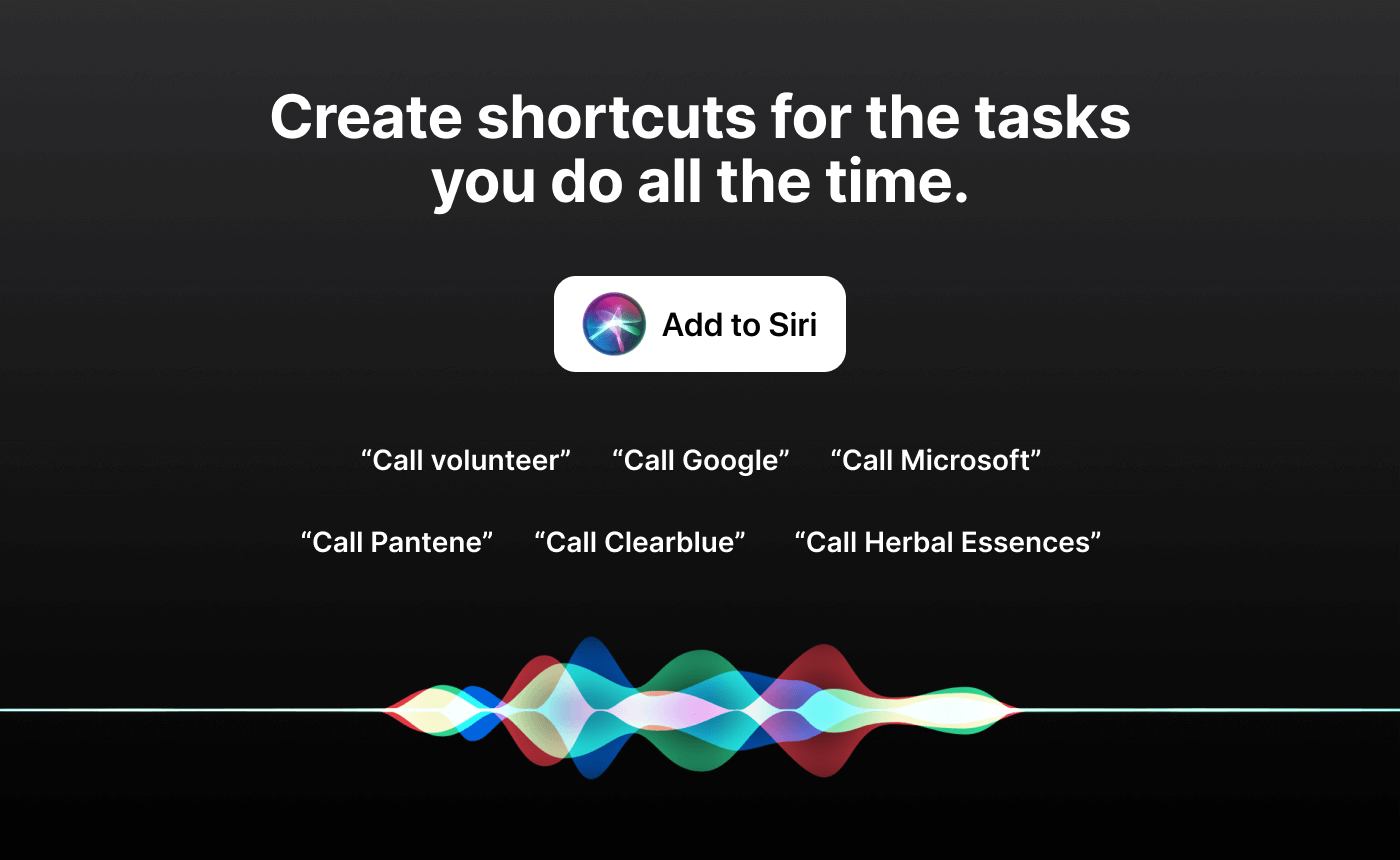 Illustration of interlinking audio waves alongside headline 'Create shortcuts for the tasks you do all the time'.