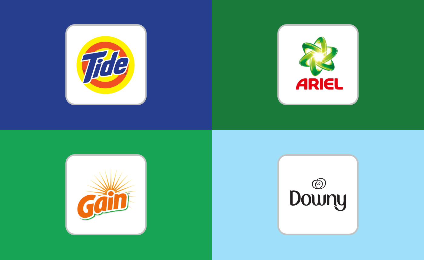 Logos of Tide, Ariel, Gain and Downy.