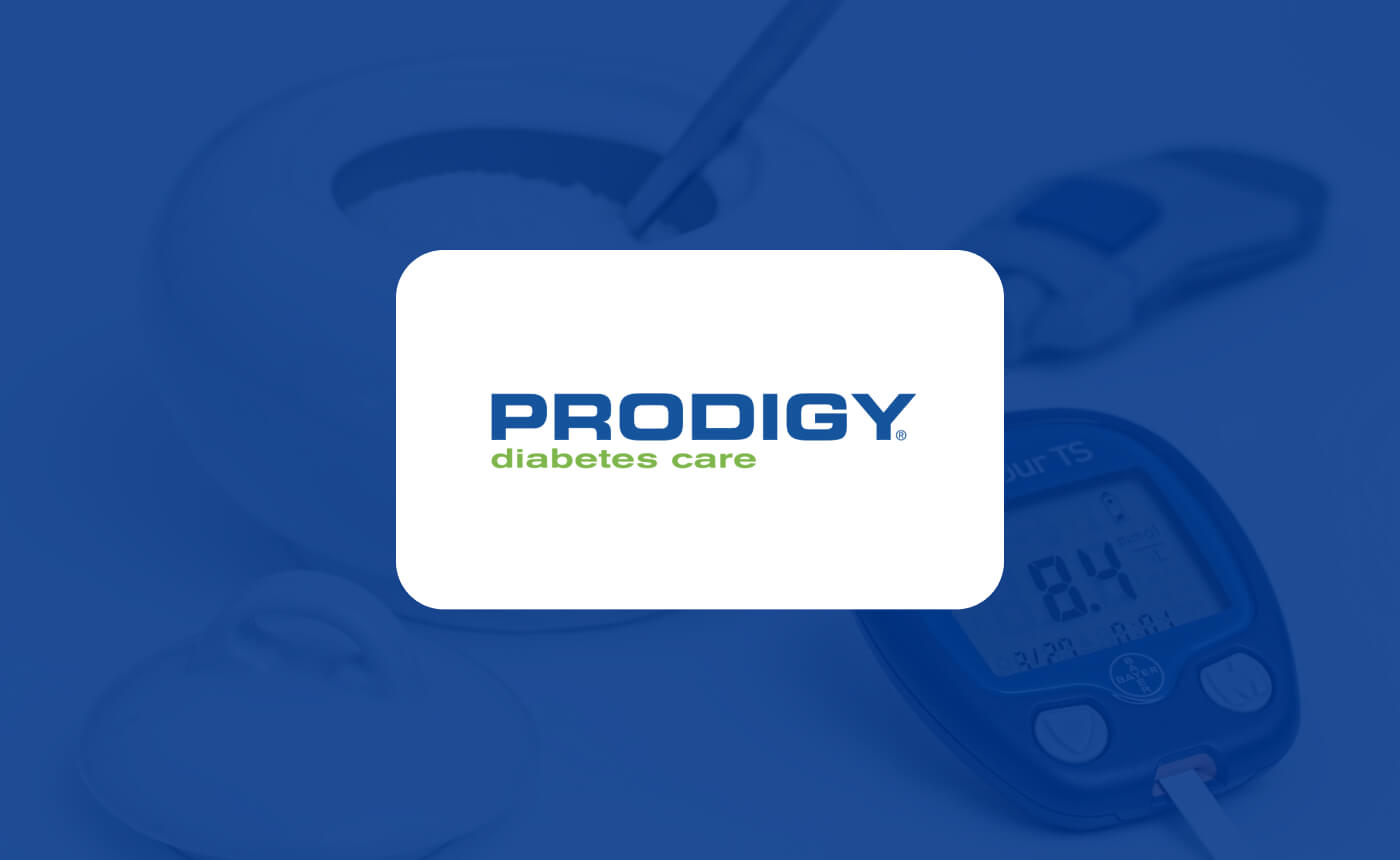 Prodigy Diabetes Care logo with glucose meters in the background.
