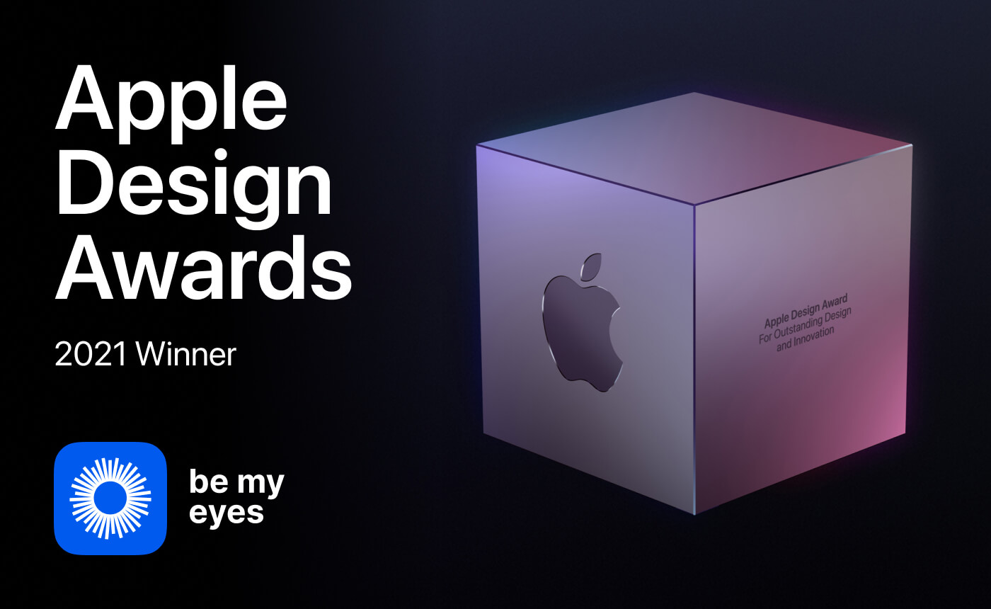 """Image of a cube Apple Design Award with text: """"Apple Design Awards 2021 Winner Be My Eyes""""."""