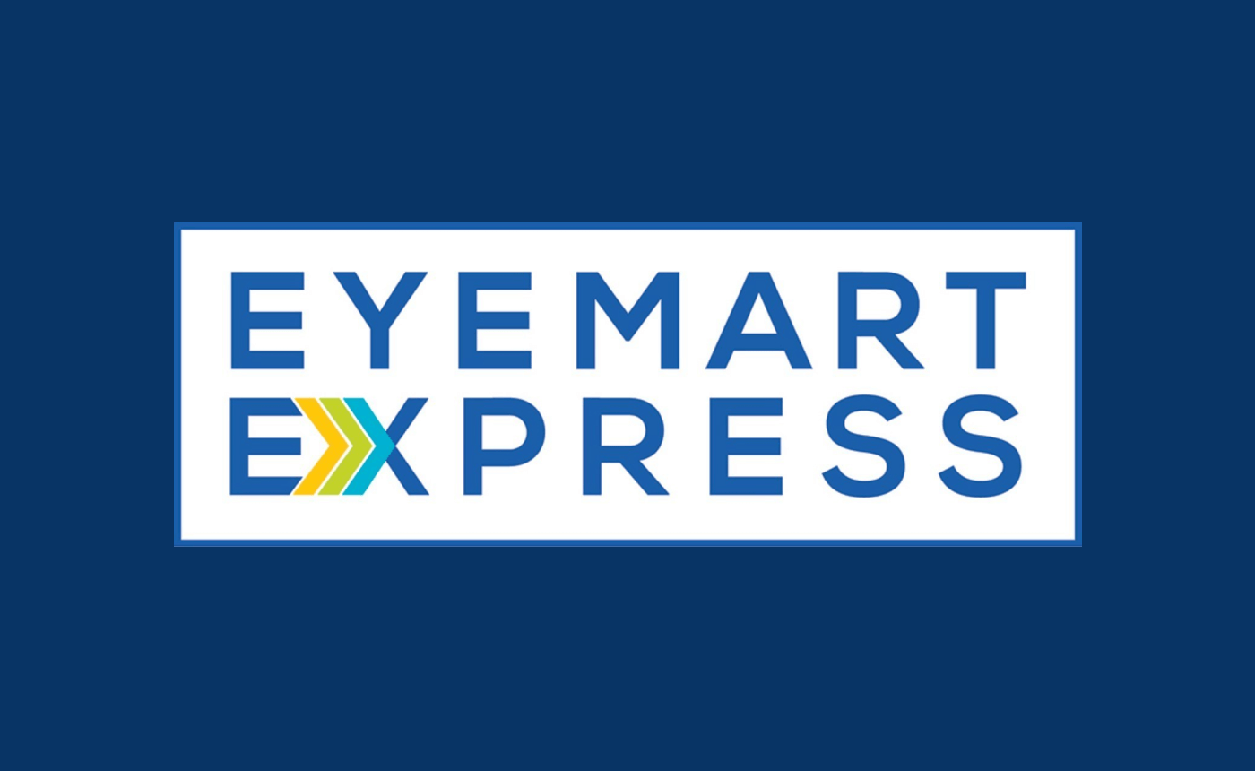 Eyemart Express logo on a dark blue background.