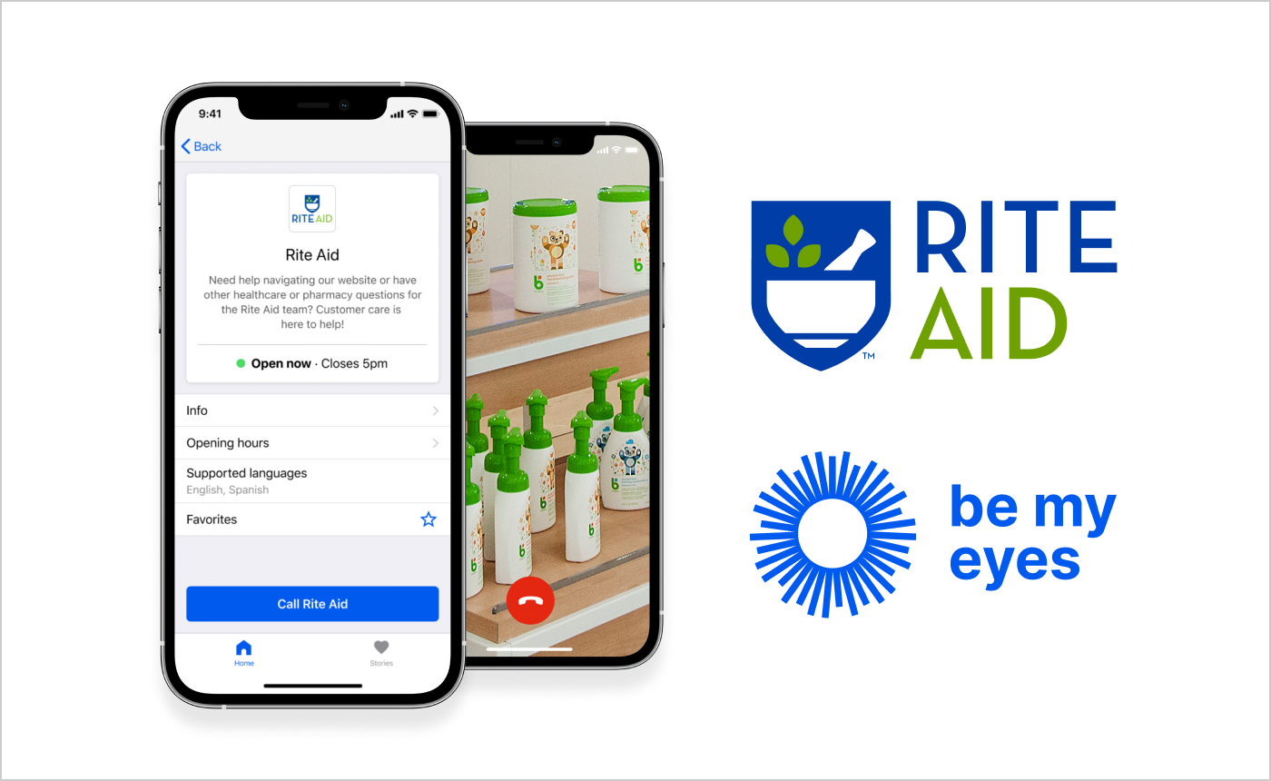 Two smartphones showcasing the Rite Aid profile in the Be My Eyes app and a call in progress, along with the logos of Rite Aid and Be My Eyes.