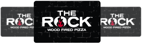 The Rock Wood Fired Pizza gift cards with logo