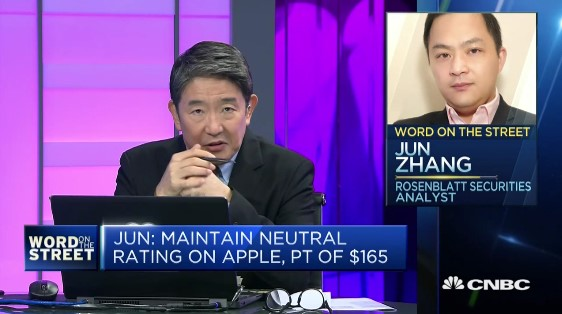 "Rosenblatt's Zhang Featured on CNBC's ""Word On The Street"""