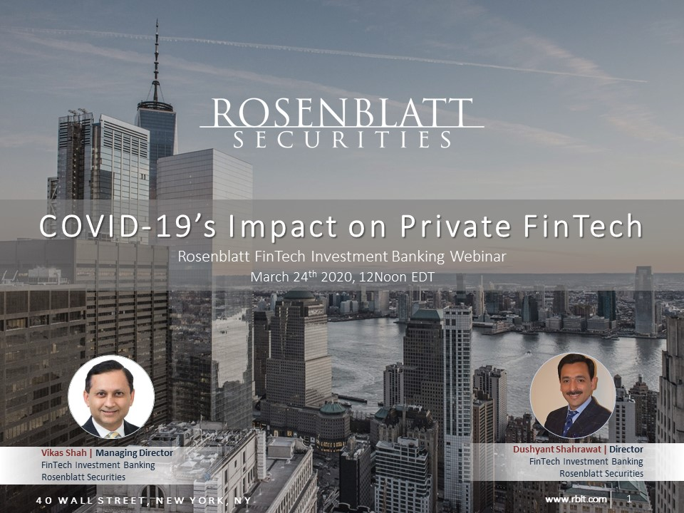 Presentation Deck: COVID-19's Implications for the Private FinTech Market