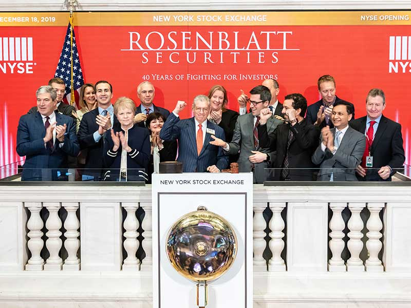 Rosenblatt's 40th Anniversary Honored with Ringing of the NYSE Opening Bell