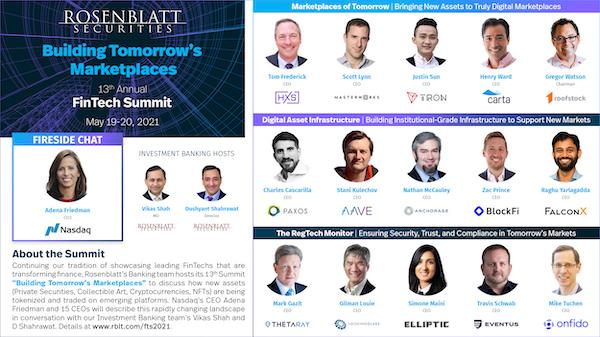 Rosenblatt's 13th FinTech Summit: May 19-20, 2021