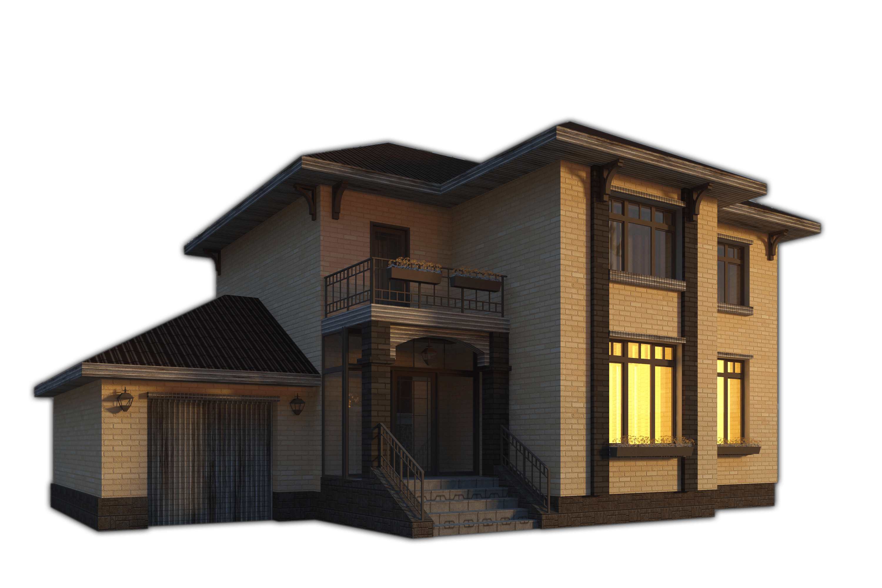 Rendering of house with film
