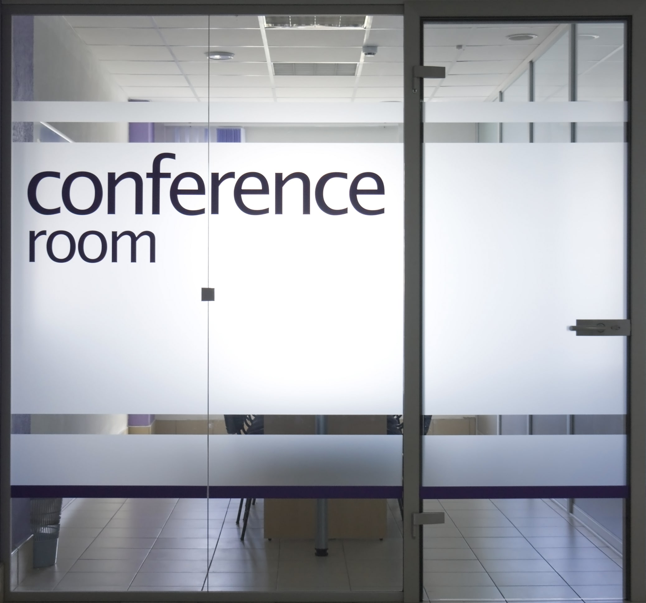 conference room with decorative window film