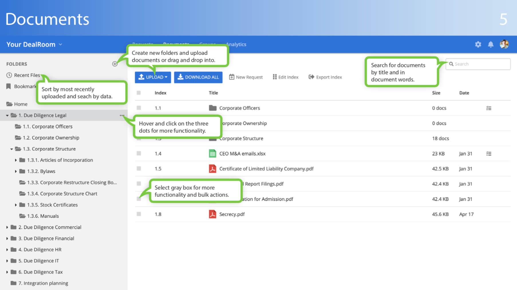 virtual data room documents tab