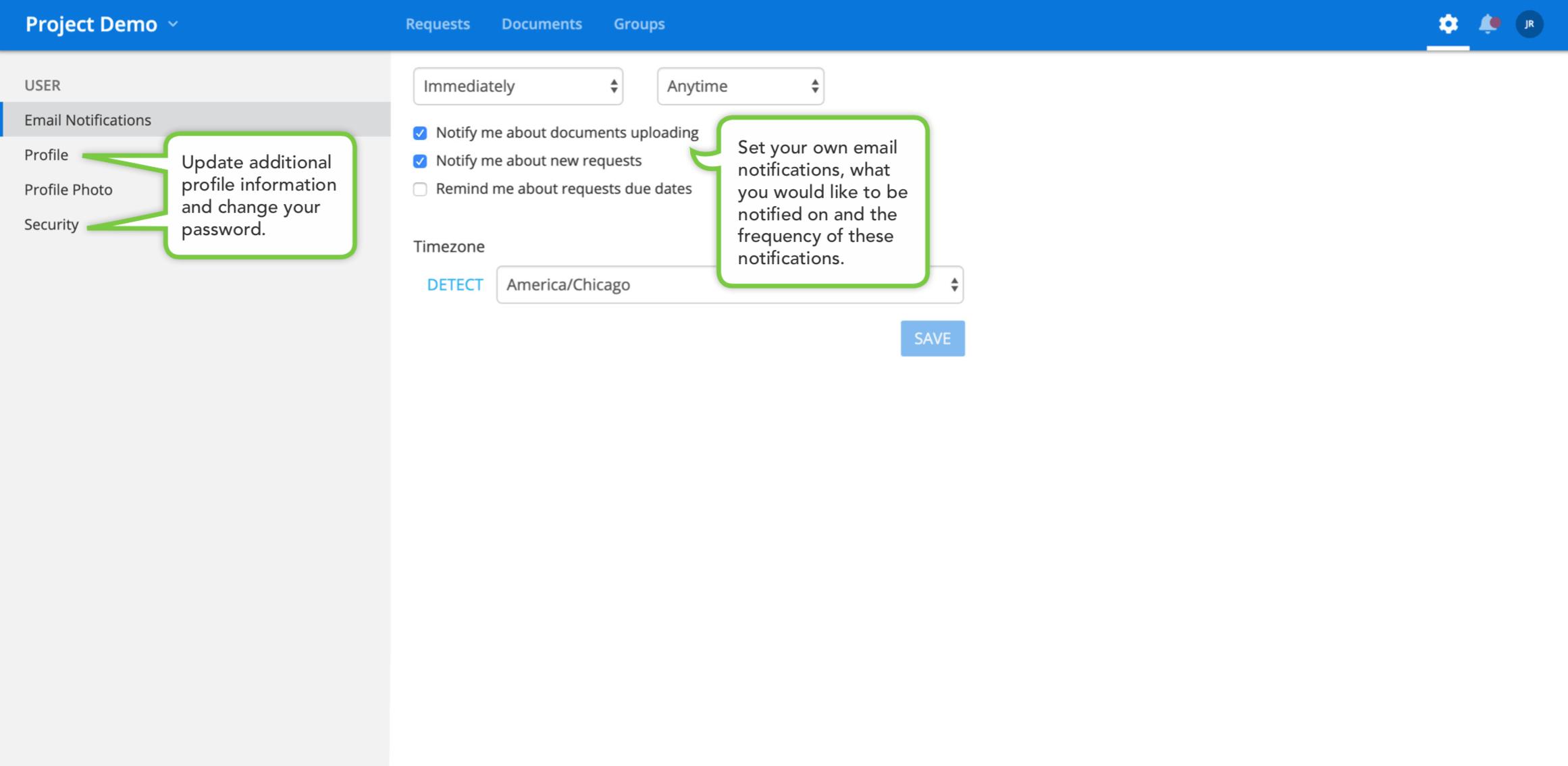 virutal data room user settings