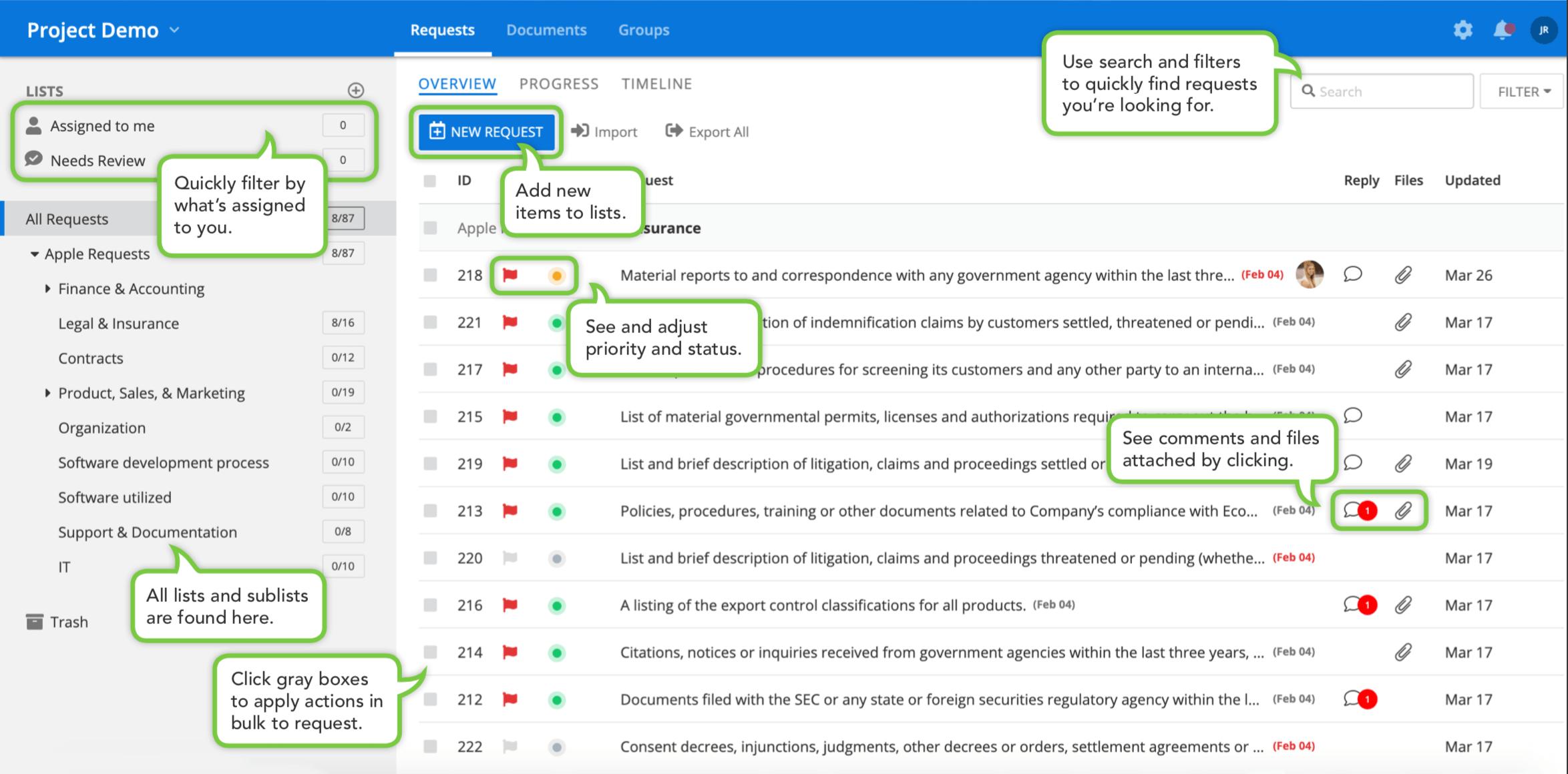 diligence management platform main tab