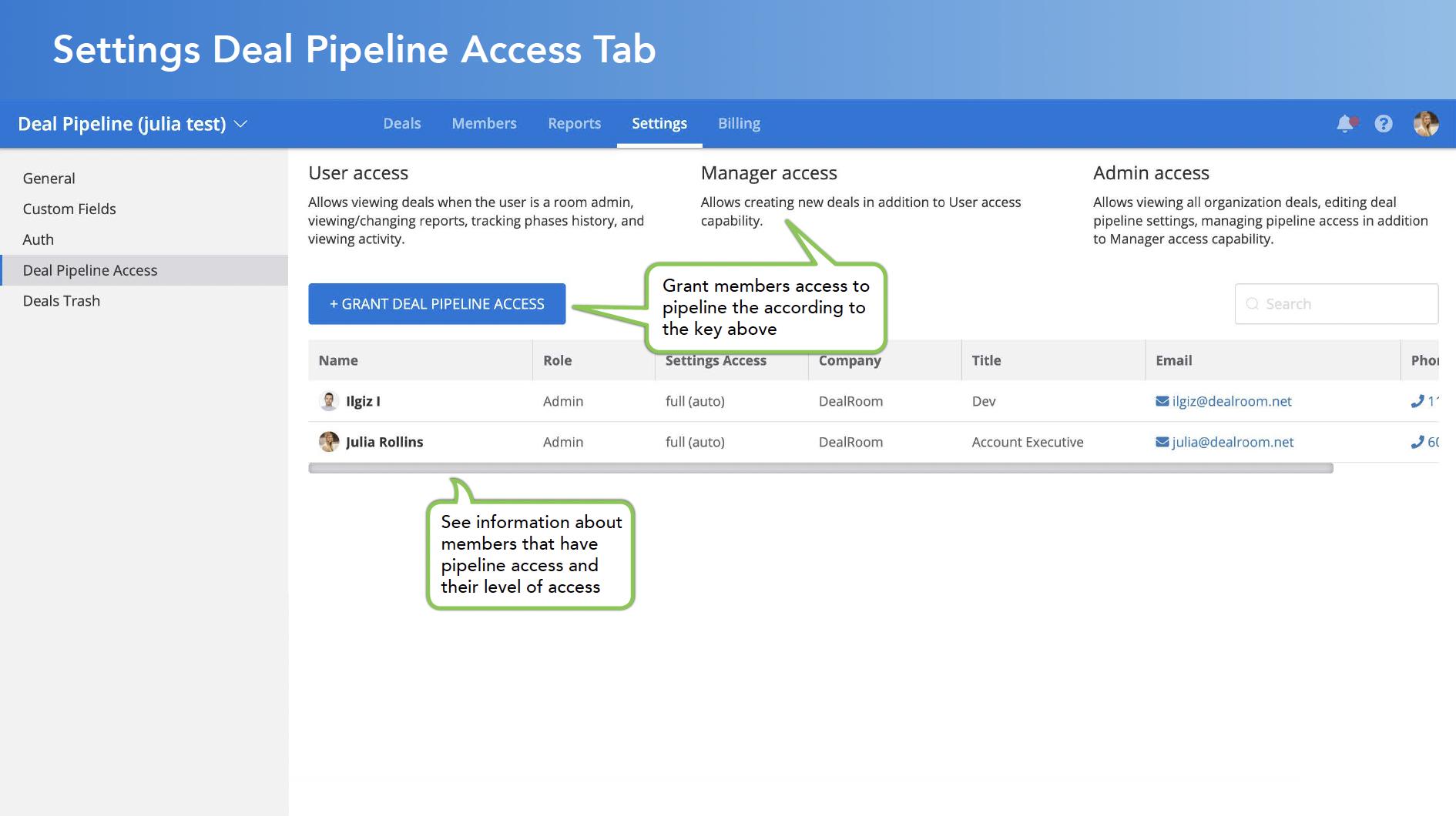 Settings Deal Pipeline Access Tab