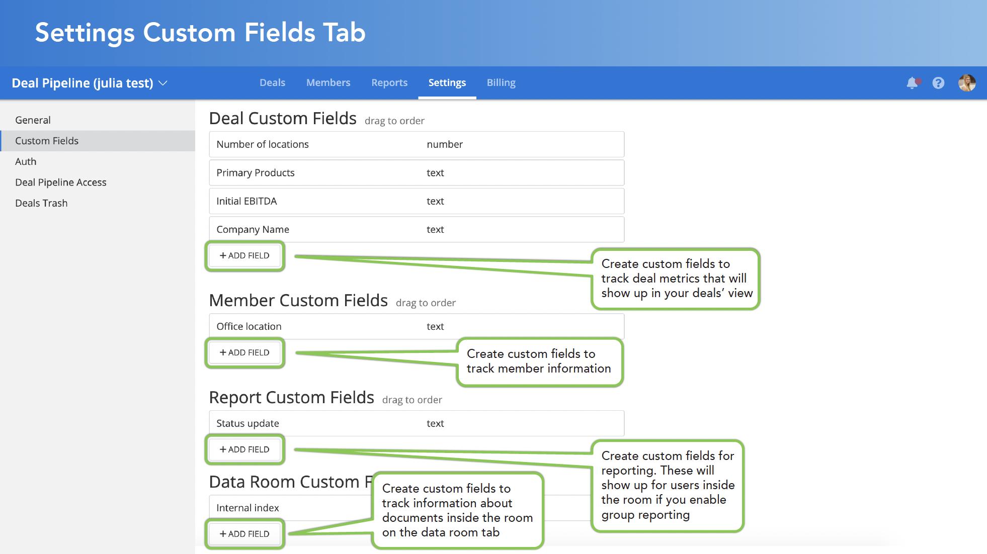 Settings Custom Fields Tab