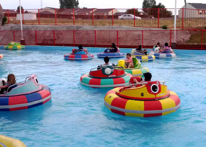 People on bumper boats
