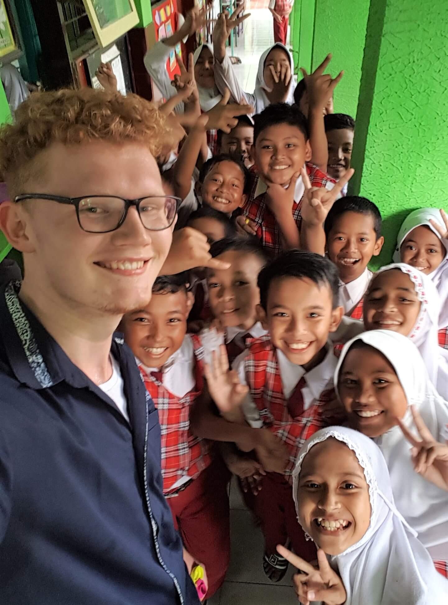 David mit den Schülern