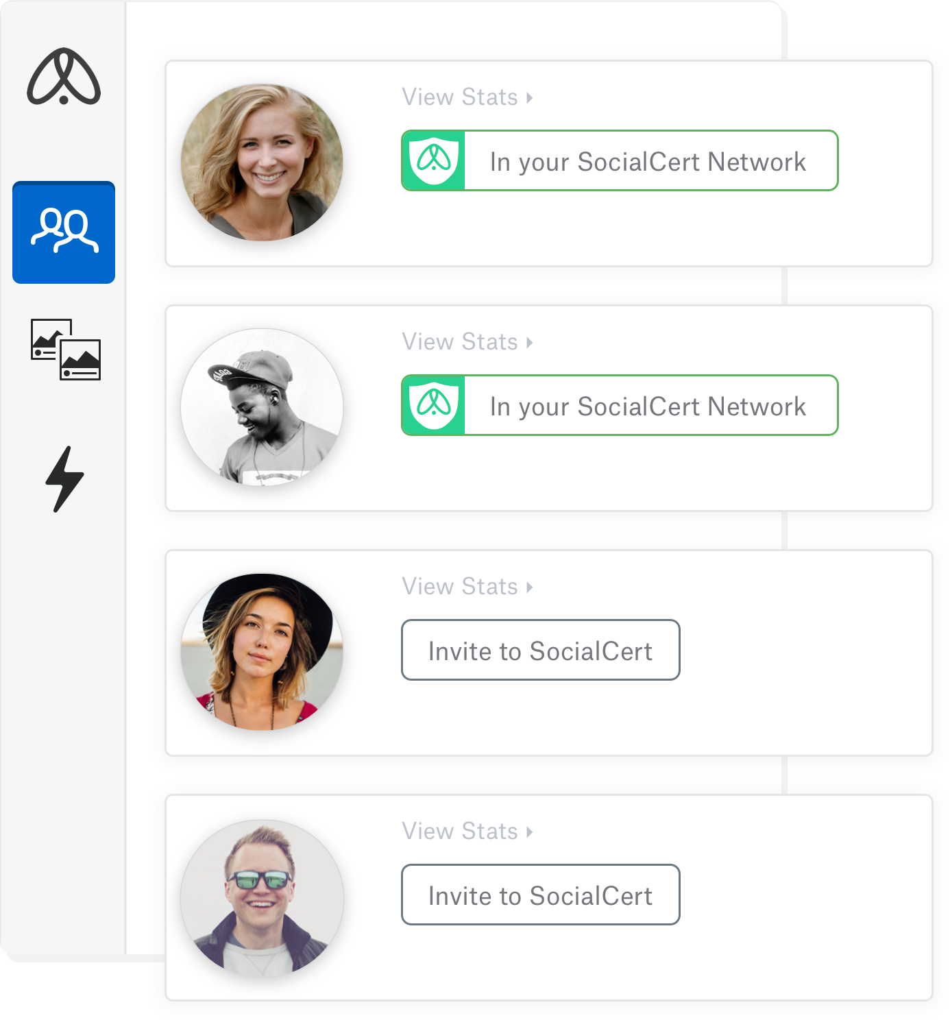 Illustration showing SocialCert verified influencers