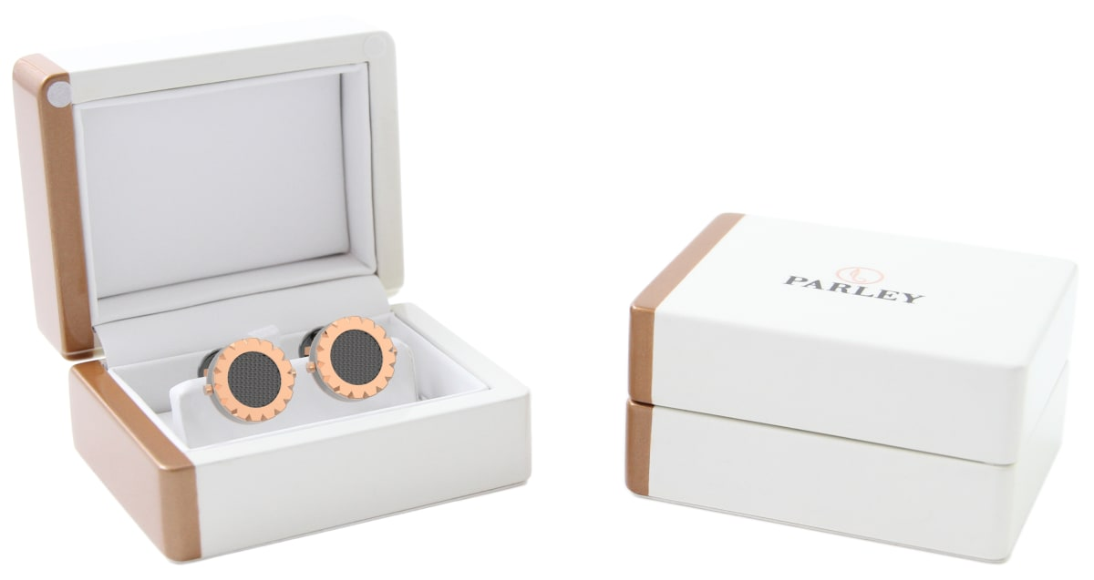 18kt Rose Gold Triangulum Bezel Watchlinks with Grey PVD Clous de Paris Inlay
