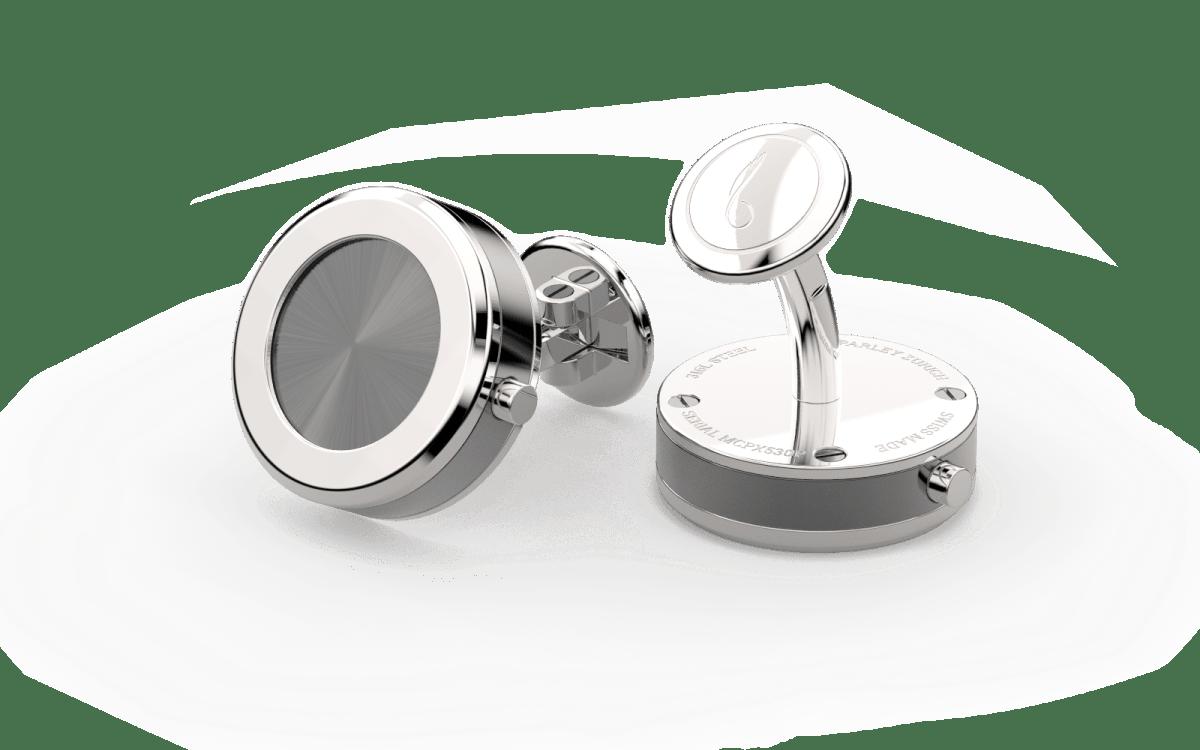 Steel 316L Beveled Edge Bezel Watchlinks with Grey PVD Sunburst Inlay