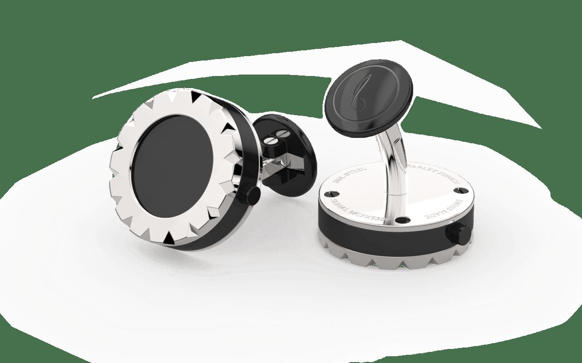 Steel 316L Triangulum Bezel Watchlinks with Onyx Stone Inlay