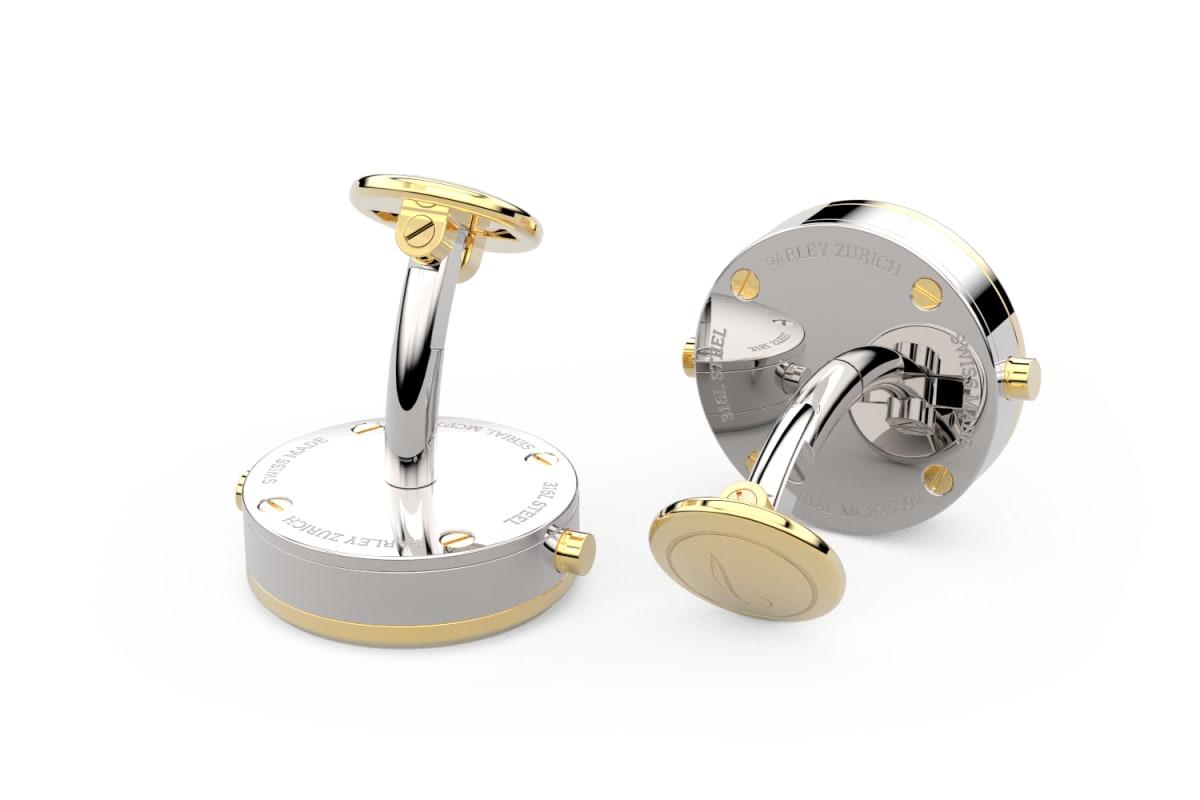 18kt Gold Beveled Edge Bezel Watchlinks with Steel Sunburst Inlay