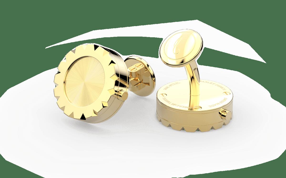 18kt Gold Triangulum Bezel Watchlinks with 18kt Gold Sunburst Inlay